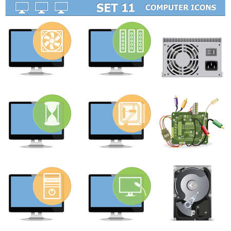 hdd: Vector Computer Icons Set 11 Illustration