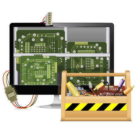 Vector Computer Repair with Toolbox Illustration