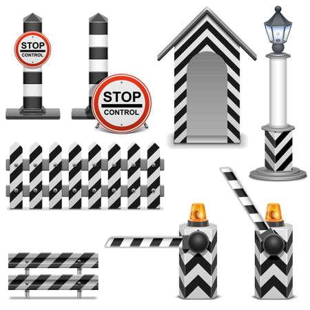 Vector Policía barrera Icons