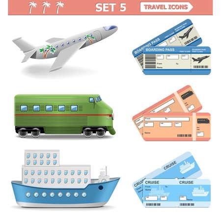 plane ticket: Vector Travel Icons Set 5