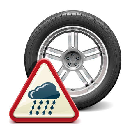 Vector Rain Tire with Sign Vector