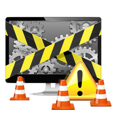 computer repair: Vector Computer Repair with Cones