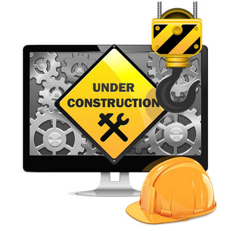 construction site: Vector Computer Repair with Helmet