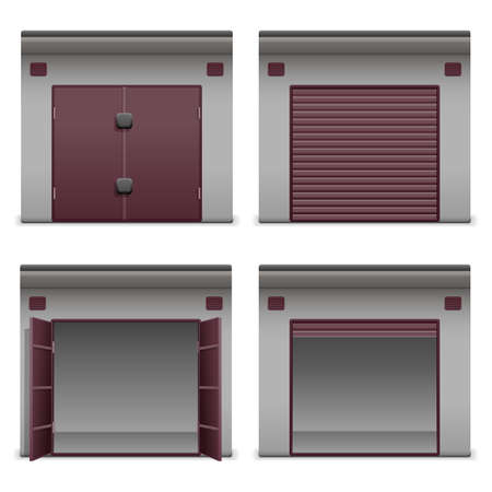 closed box: Garage Icons Illustration