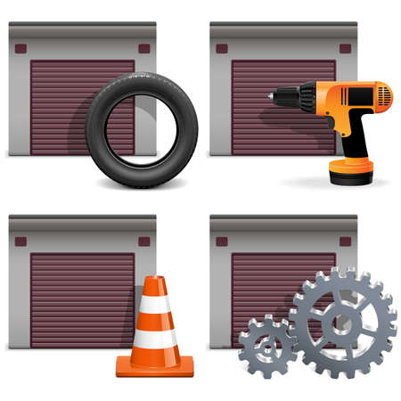 vulcanization: Garage Icons set
