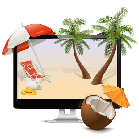 Computer with Tropical holiday concept Illustration