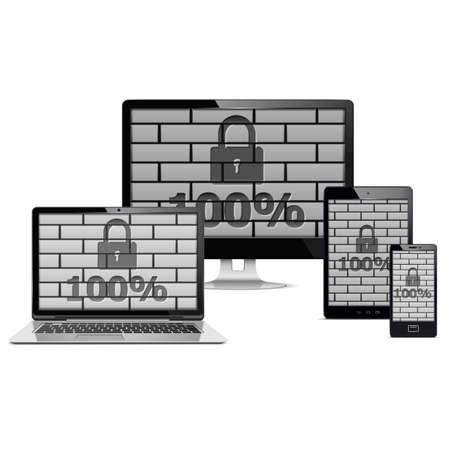 electronic devices: Electronic Devices Security Concept Illustration