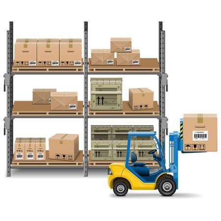 forklift: Storage with Forklift Illustration