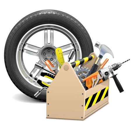 Wheel with Toolbox Ilustração
