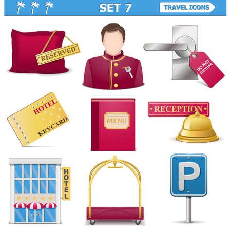 luxury hotel room: Vector travel icons   Illustration