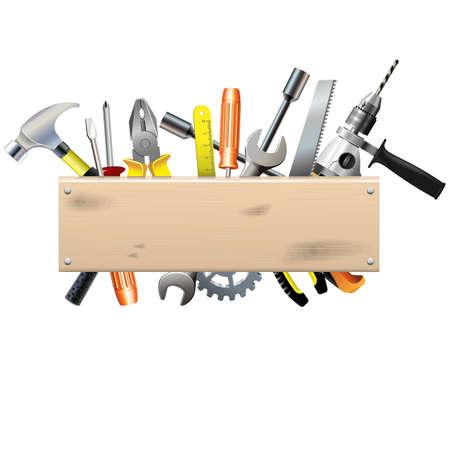 Vector Board met gereedschap Stock Illustratie