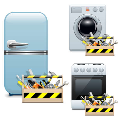 fix gear: Vector Household Appliance Repair Icons Illustration