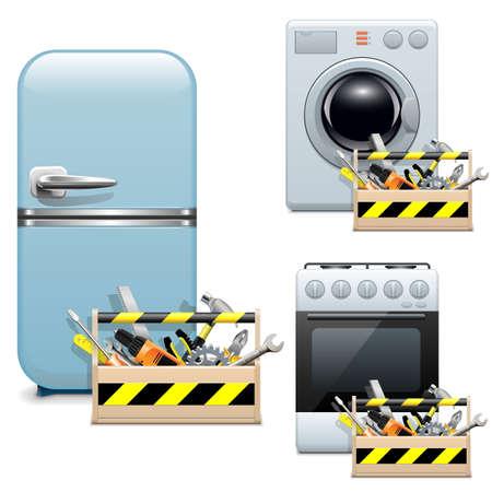 gospodarstwo domowe: Wektor ikony Naprawa urządzenia gospodarstwa domowego Ilustracja