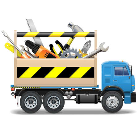 Vector Toolbox and Truck isolated on white background Illustration