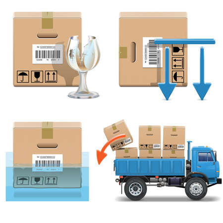 water damage: Vector Shipment Icons Set 31