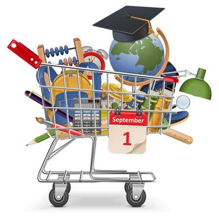 livre �cole: Vecteur Chariot avec fournitures scolaires