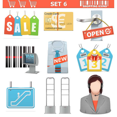 accept: Vector Shopping  Icons Set 6 Illustration