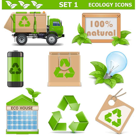 garbage bag: Vector Ecology Icons Set 1 Illustration