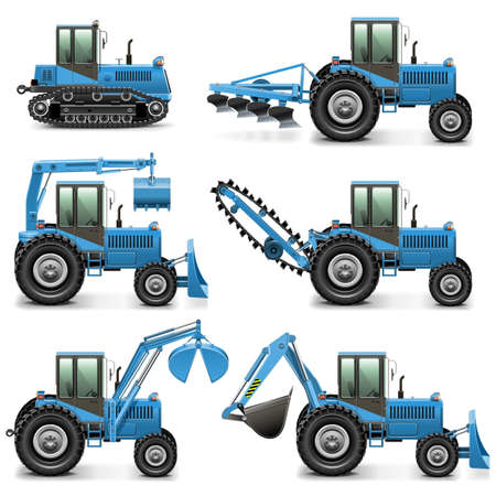 crawler tractor: Vector Agricultural Tractor Set 1