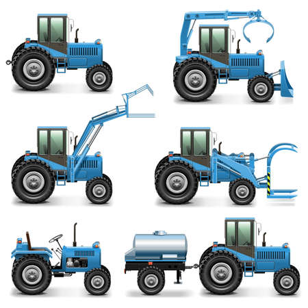 tractor trailer: Vector Agricultural Tractor Set 2 Illustration