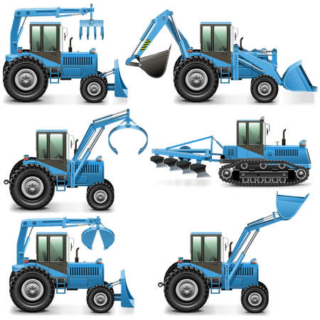 crawler tractor: Vector Agricultural Tractor Set 3