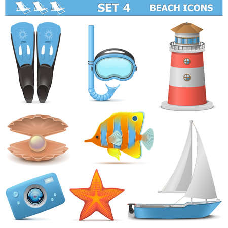 flippers: Vector Beach Icons Set 4