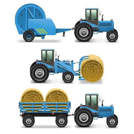 chaume: Vecteur de tracteurs agricoles Set 5