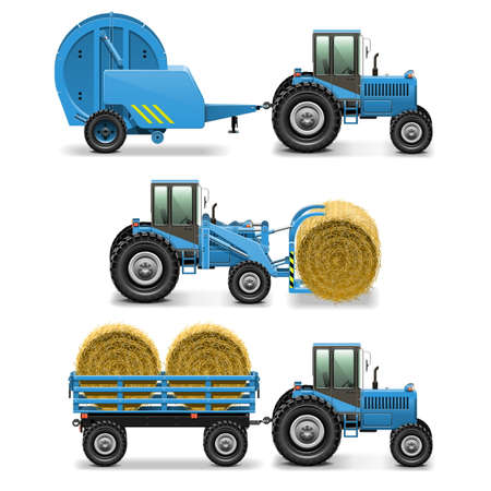 hay bales: Vector Agricultural Tractor Set 5 Illustration