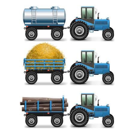 chaume: Vecteur de tracteurs agricoles Set 4