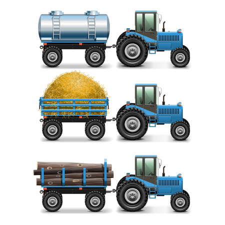 tractor trailer: Vector Agricultural Tractor Set 4