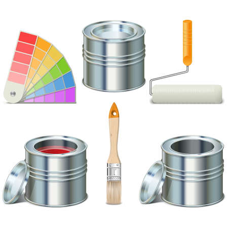 """""""paint can"""": Vector Paint Can and Brush Icons"""