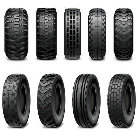 vulcanization: Vector Truck and Tractor Tires