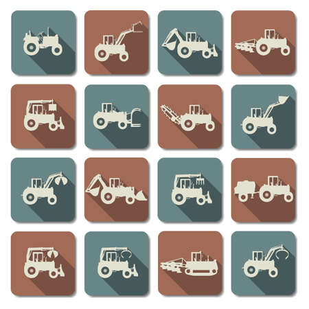 agro: Tractor Flat Icons