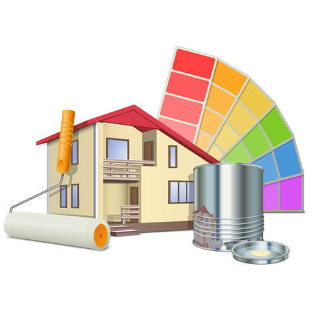 house painter: Vector Painting Concept with House Illustration