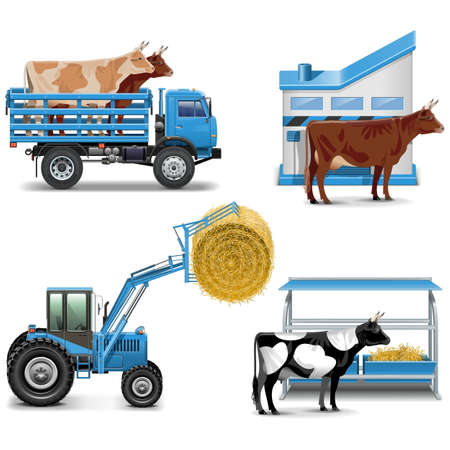 hay: Agricultural Icons Set Illustration