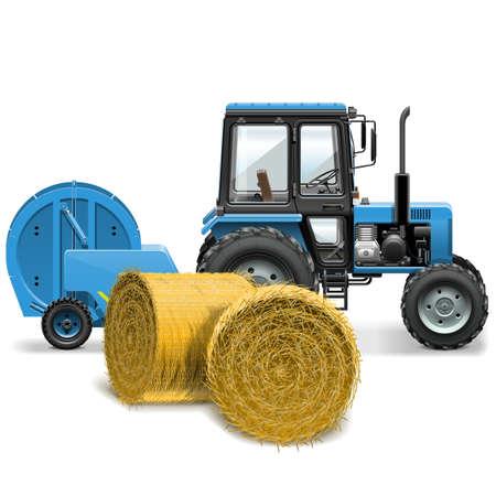 俵: 干し草ベーラーの概念  イラスト・ベクター素材