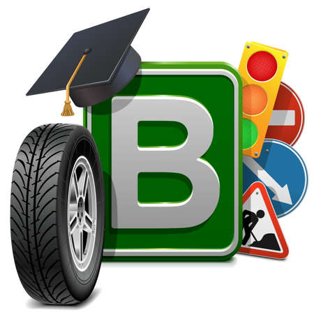 autoscuola: Vector Driving School Concetto