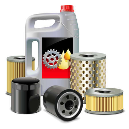 onderhoud auto: Vector Motorolie en filters Stock Illustratie