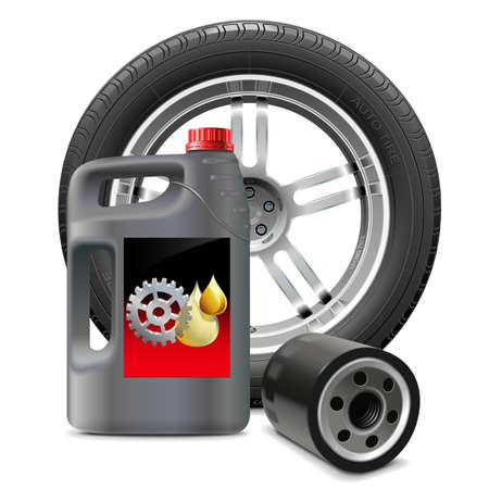 mineral oil: Vector Engine Oil with Oil Filter and Tire Illustration