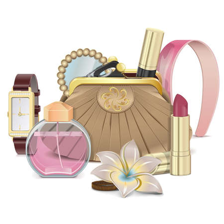 wristwatch: Vector Purse with Accessories Illustration