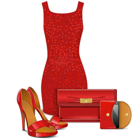 Vector Red Female Clothes Stock Vector - 29264223