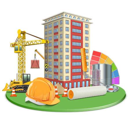 multistory: Vector Living Block Construction Illustration