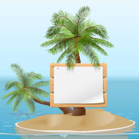commercial tree service: Vector Island with Signboard Illustration