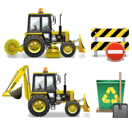 besom: Street Cleaning Icons isolated on white background