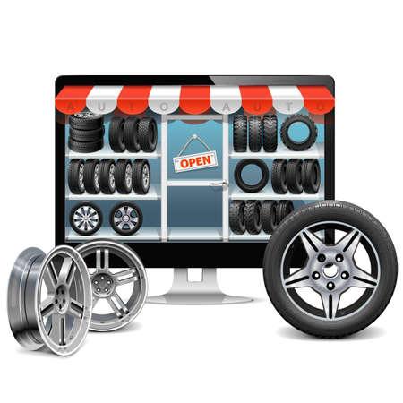 summer tires: Vector Tire Shop Concept aisladas sobre fondo blanco