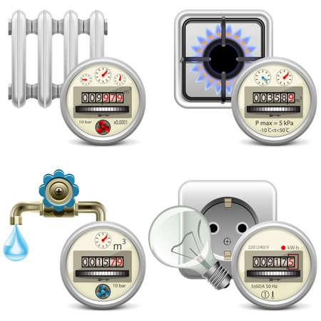 metro medir: Vector Medidor iconos aislados sobre fondo blanco Vectores