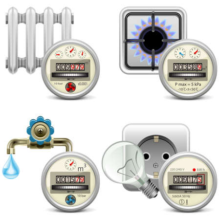 electric meter: Vector Meter Icons isolated on white background Illustration