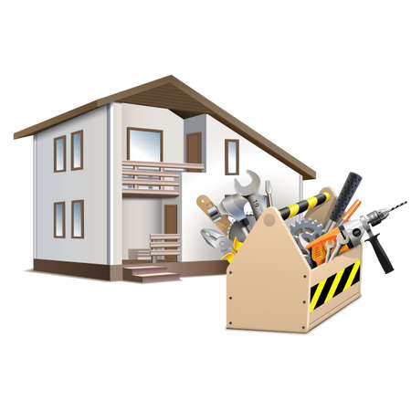 perforator: Vector Toolbox and House isolated on white background