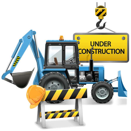 construction barrier: Vector Under Construction Concept with Tractor isolated on white background Illustration
