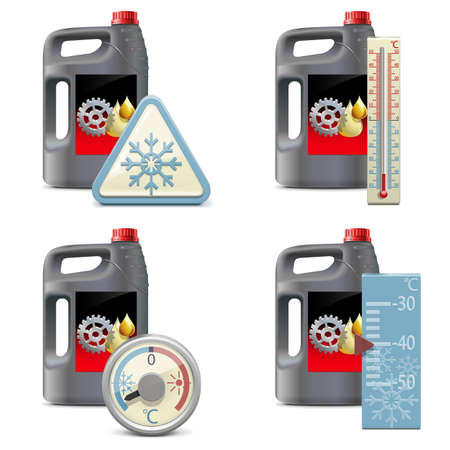 winter car: Vector Winter Oil Icons isolated on white background
